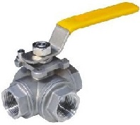 stainless steel 4 way ball valve, npt ends