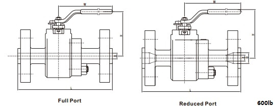 Technical drawing of forged steel floating ball valve class 600