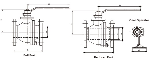 technical drawing of floating split body ball valve class 150