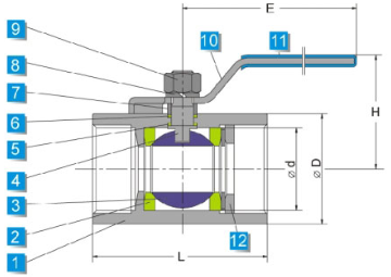 Technical drawing of stainless steel one piece ball valve 1000 wog conventional pattern