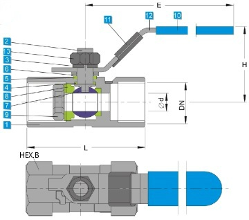 Technical drawing of heavy type stainless steel one piece ball valve 1000 wog