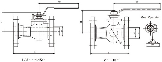 technical drawing of floating unibody ball valve
