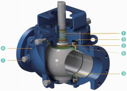 Design Features of top entry trounion mounted ball valve