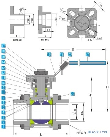 G.A drawing of heavy type ss 3 piece ball valve with mounting pad