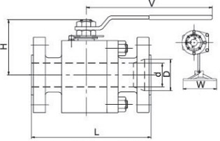 G.A drawing of metal seated floating ball valve class 2500