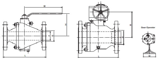 G.A drawing of cast steel trunnion mounted ball valve 150lb