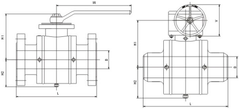 Drawing of fully welded ball valve