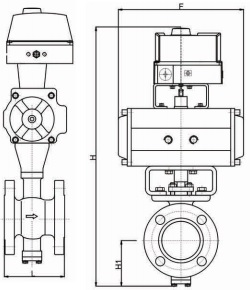 Drawing outline pneumatic drive rf v port ball valve.