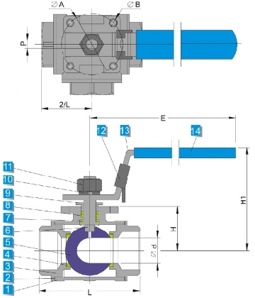 G.A drawing of ss 3 way ball valve with common mounting pad