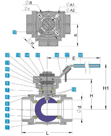 G.A drawing of ss 3 way ball valve with higher platform mounting pad