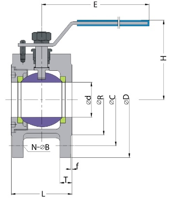 G.A drawing of ss conventional type wafer ball valve 150 lb