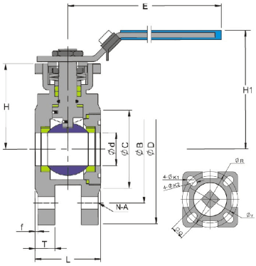 G.A drawing of ss wafer ball valve 150 lb with mounting pad