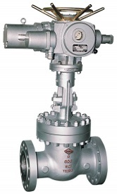 API 600 wedge gate valve with an electric actuator