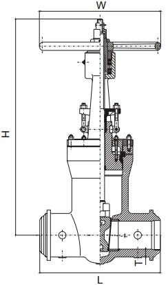 G.A drawing of pressure gate valve