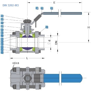G.A drawing of ss 3 pc ball valve, DIN 3202-M3