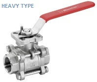 heavy type ss 3 piece ball valve with mounting pad