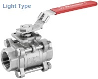 light type ss 3 piece ball valve with mounting pade