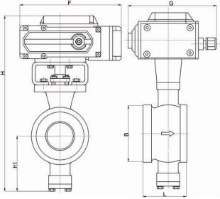Outline electric wafer type v port ball valve.