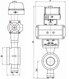 Outline pneumatic wafer type v port ball valve.