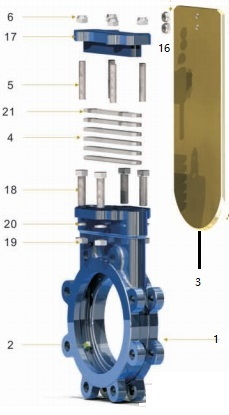 Part 1 of explosive view of metal seal knife gate valve