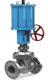 API 600 Gate Valves with a pneumatic actuator