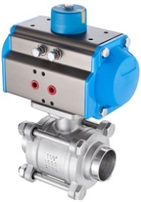 stainless steel 3 piece ball valve with pneumatic actuator