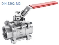 stainless steel 3 piece ball valve, DIN 3202 M3 type.
