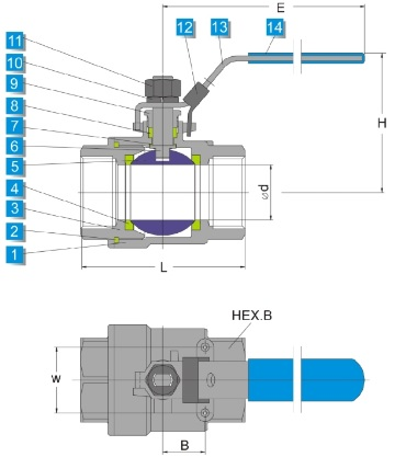 Technical drawing of stainless steel 2 piece ball valve 2000 wog