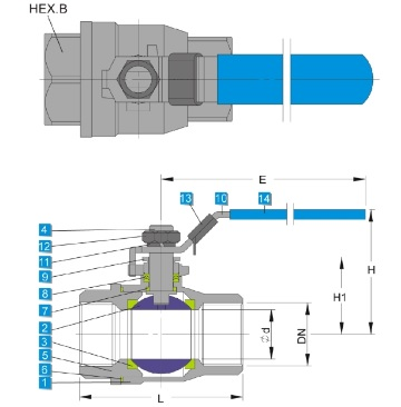 Technical drawing of stainless steel 2 piece ball valve DIN 3202-M3 1000 wog