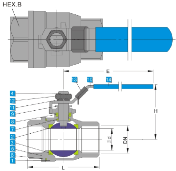 Technical drawing of heavy type stainless steel 2 piece ball valve 1000 wog