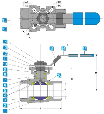 tech-drawing-of-stainless-steel-2-piece-ball-valve-with-mounting-pad