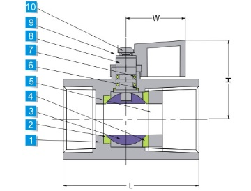 Technical drawing of stainless steel 1 piece ball valve with double female threaded ends, 1000WOG