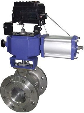 V port ball valve with pneumatic actuator