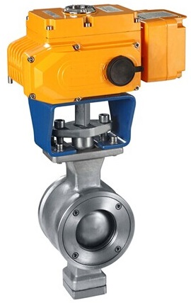 Wafer type V port ball valve with electric actuator