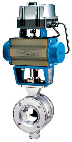 Wafer type V port ball valve with pneumatic actuator