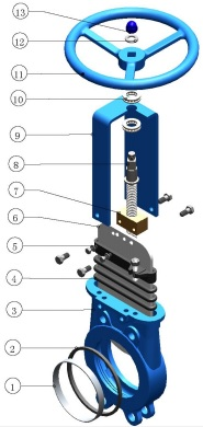3D exploded view MTB-HNR knife gate valve.