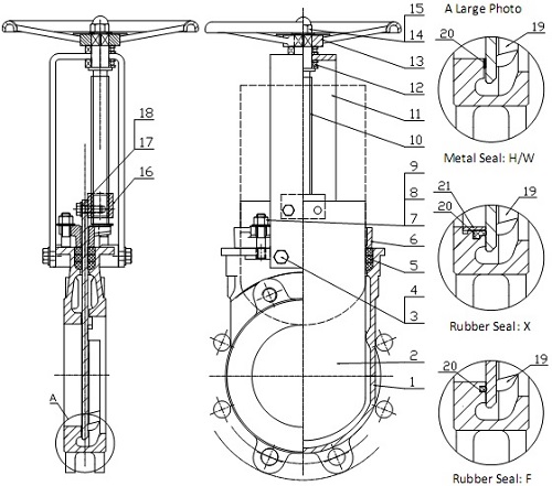 G.A drawing of MTB-HNR knife gate valve.