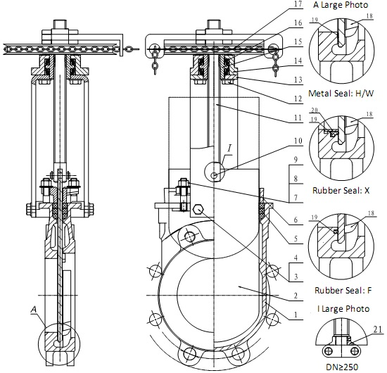 G.A drawing of MTB-SRY series chainwheel knife gate valve.