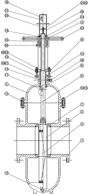 G.A drawing of throught conduit double expanding gate valve.