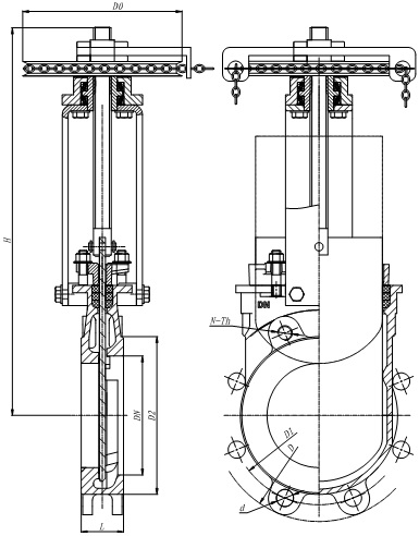 Outline drawing of MTB-SRY series chainwheel knife gate valve