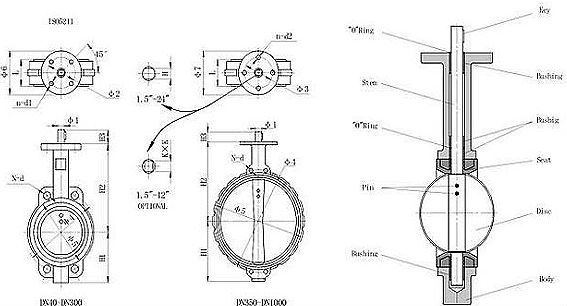 Drawing of wafer type centerline butterfly valve(with pin).