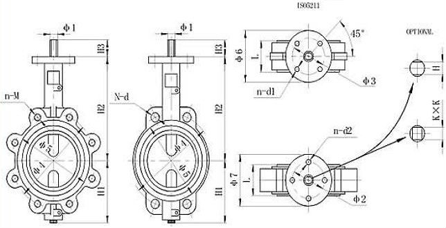 Drawing of wafer type centerline butterfly valve(without pin).