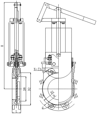 The outline drawing of MTB-LHY series lever operated knife gate valve