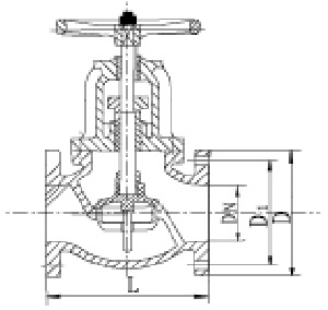 Drawing of 125/150LB globe valve.