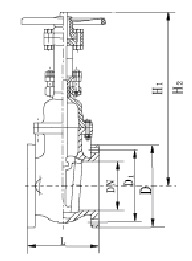 Drawing of 125LB OS&Y gate valve.