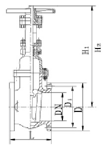 Drawing of 250LB OS&Y gate valve.