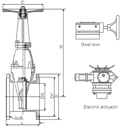 Drawing of BS5163 resilient seat OS&Y gate valve.