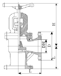 Drawing of DIN angle type globe valve.