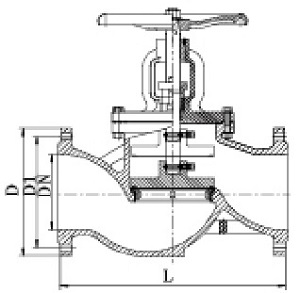 Drawing of DIN globe valve.