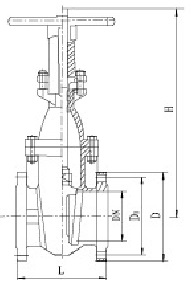 Drawing of DIN metal seal OS&Y gate valve.